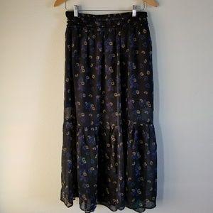 Exhilaration Floral Chiffon Midi Skirt